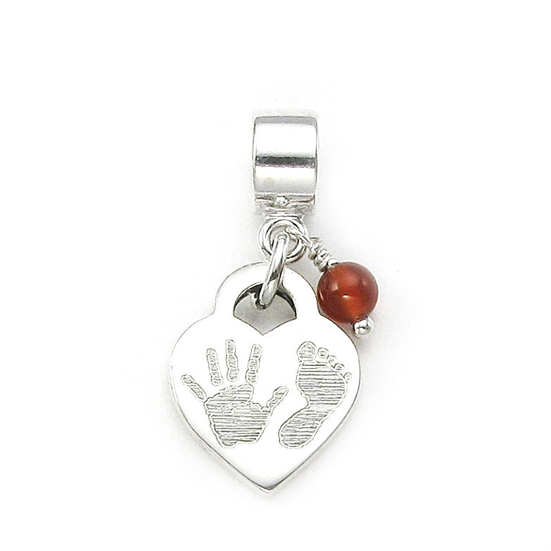 Baby Handprint and Footprint engraved sterling silver with large hole bead dangle