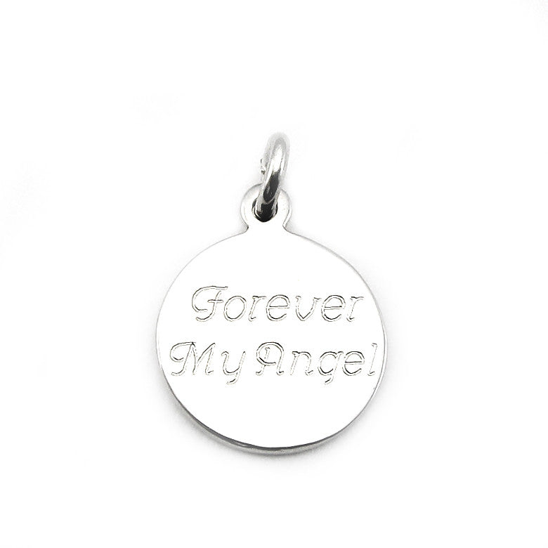Sterling Silver Personalized Small Round Charm in Block Font