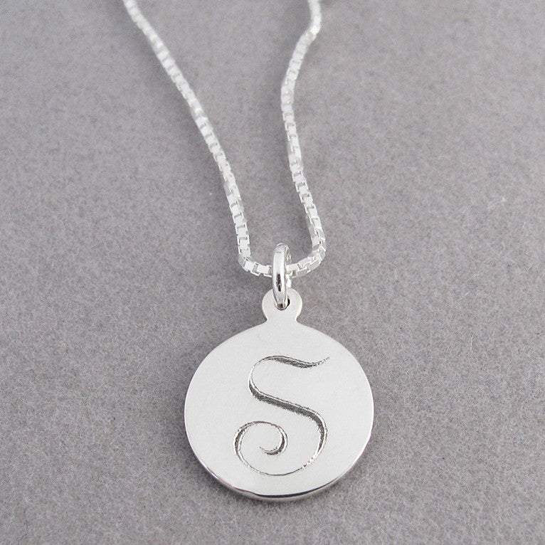 Small Round Initial Charm- Script Font | Sterling Silver