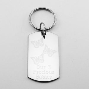Our 3 Precious Babies- Three Butterflies stainless steel dog tag pendant memorial keychain