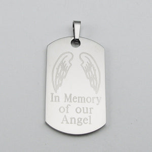 In Memory of our Angel- Angel Wings stainless steel dog tag memorial pendant