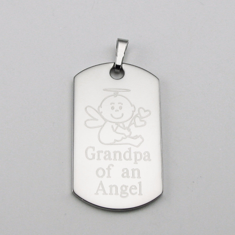 Personalized memorial jewelry sympathy gifts baby and child loss grandpa of an angel baby angel stainless steel dog tag memorial pendant solutioingenieria Choice Image