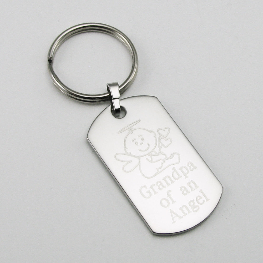 Godfather of an Angel- Baby Angel stainless steel dog tag pendant memorial keychain