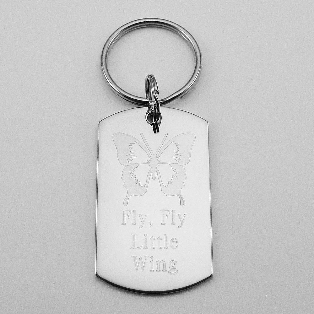 Fly Fly Little Wing- Butterfly stainless steel dog tag pendant memorial keychain