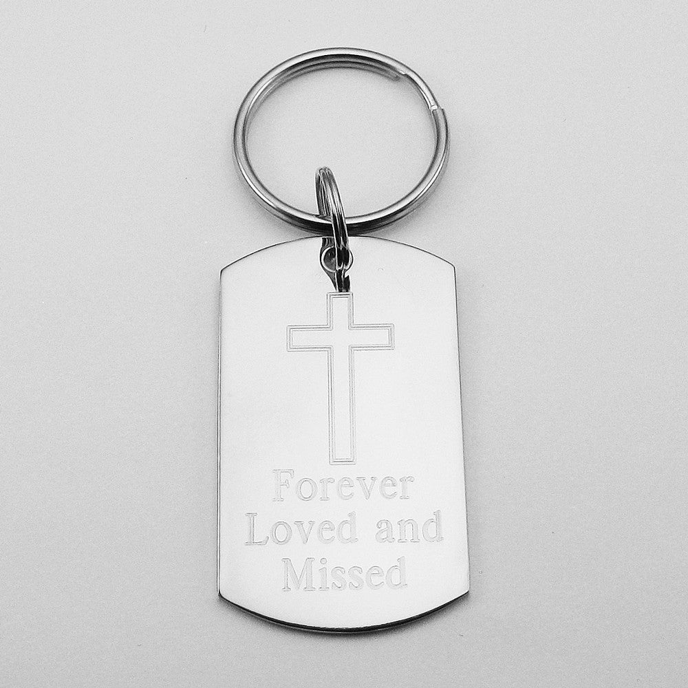 Forever Loved and Missed- Simple Cross Stainless Steel Dog Tag Memorial Keychain
