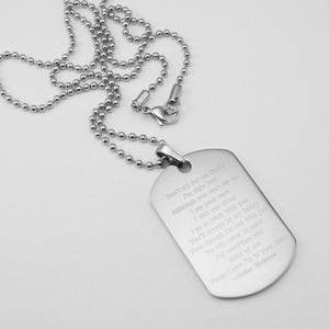 Don't Cry for Me Daddy Poem Dog Tag Stainless Steel Memorial Pendant with Ball Chain Necklace