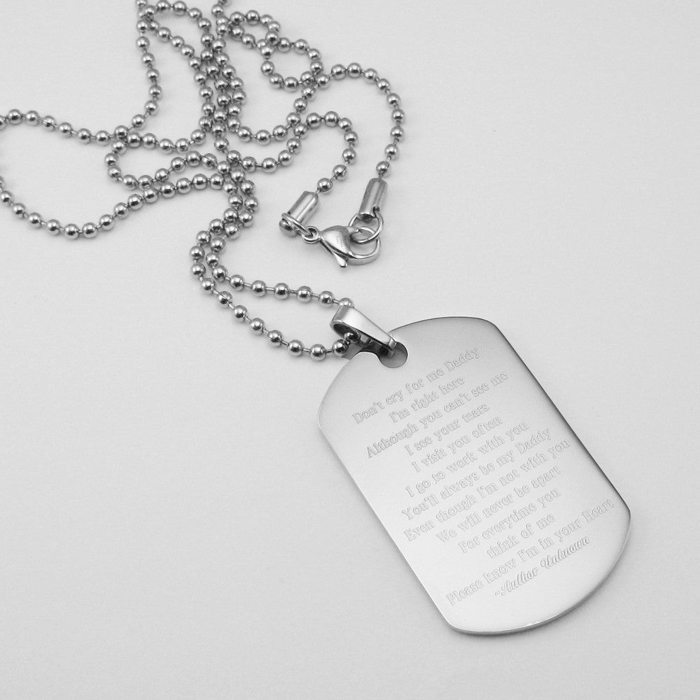 dogtag personalized memorial steel baby sympathy daddy loss pendant jewelry poem dog me stainless t tag child don cry for and gifts
