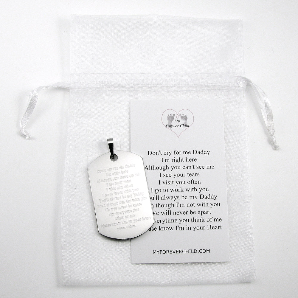 Don't Cry for Me Daddy Poem Dog Tag Stainless Steel Memorial Pendant