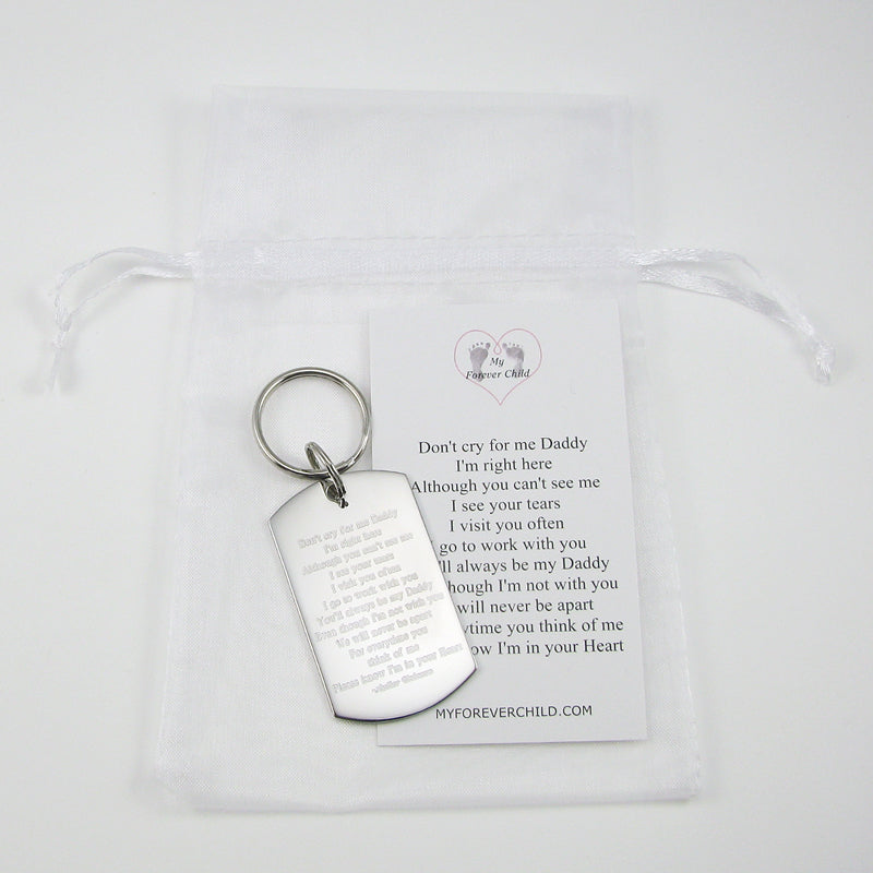 Loss of Child Memorial Poem for Fathers on Stainless Steel Dog Tag Keychain