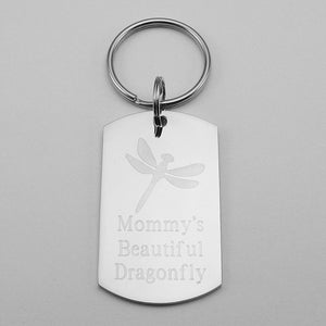 Mommy's Beautiful Dragonfly- Dragonfly stainless steel dog tag pendant memorial keychain