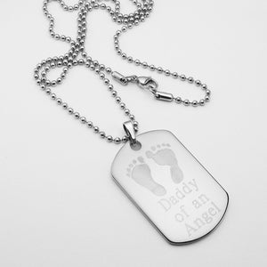 Daddy of an Angel- Baby Footprints stainless steel dog tag memorial pendant with ball chain necklace