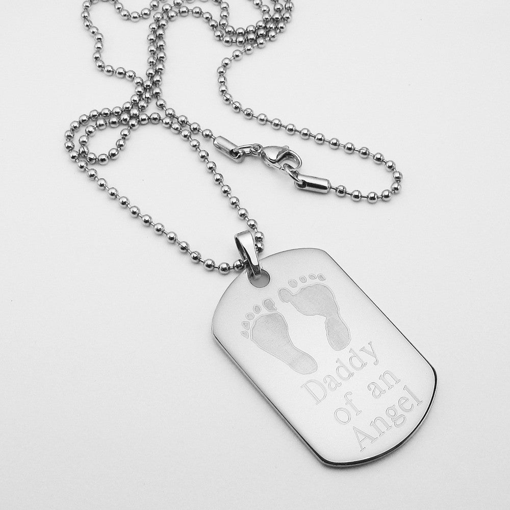 Daddy of an Angel- Baby Footprints stainless steel dog tag memorial pendant