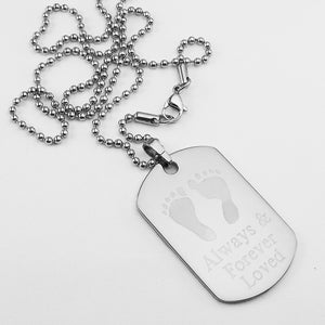 Always & Forever Loved- Baby Footprints stainless steel dog tag memorial pendant with ball chain necklace