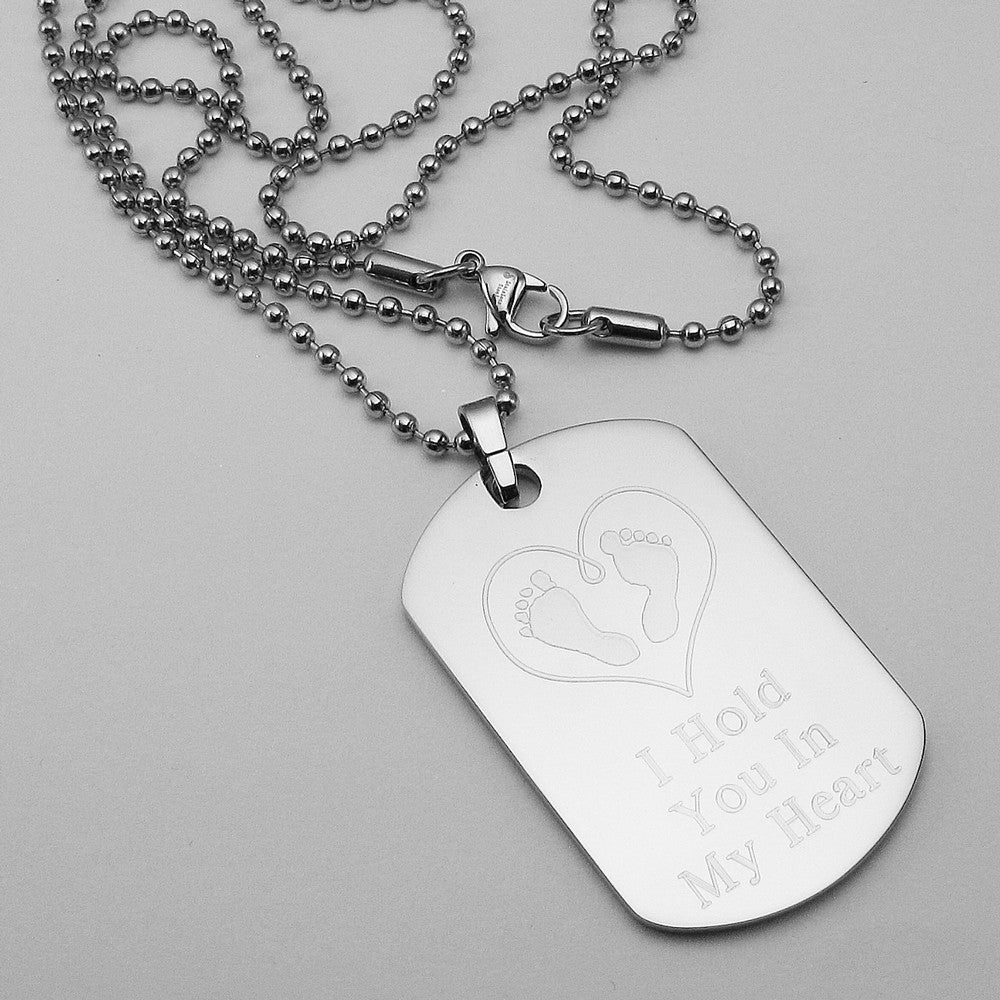 I Hold You In My Heart- Baby Footprints in Heart stainless steel dog tag memorial pendant