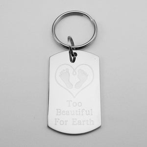 Too Beautiful For Earth- Baby Feet in Heart Stainless Steel Dog Tag Pendant Memorial Keychain