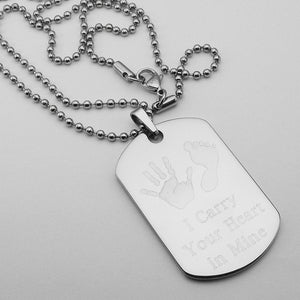 I Carry Your Heart in Mine- Baby Handprint and Footprint stainless steel dog tag memorial pendant