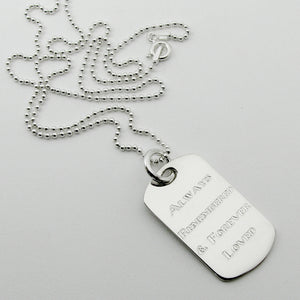 Always Remembered & Forever Loved- sterling silver dog tag memorial pendant with beaded ball chain necklace