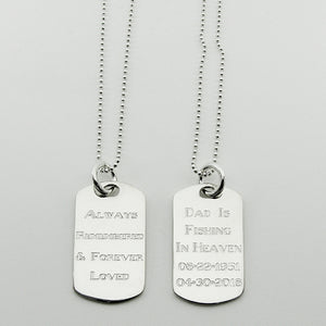 Always Remembered & Forever Loved- sterling silver dog tag memorial pendant, personalized engraving on the back, ball chain necklace