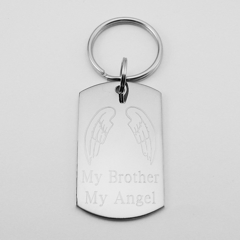 f0455ff6e My Brother My Angel- Angel Wings stainless steel dog tag pendant memorial  keychain