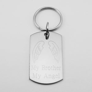 My Brother My Angel- Angel Wings stainless steel dog tag pendant memorial keychain