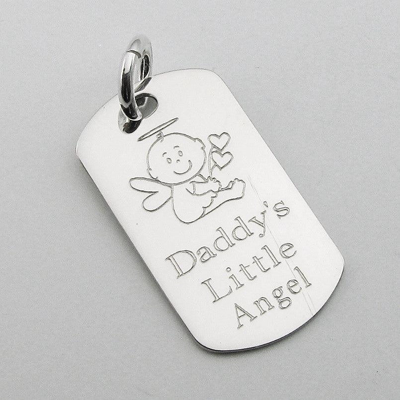 Daddy's Little Angel- Baby Angel sterling silver dog tag pendant memorial keychain