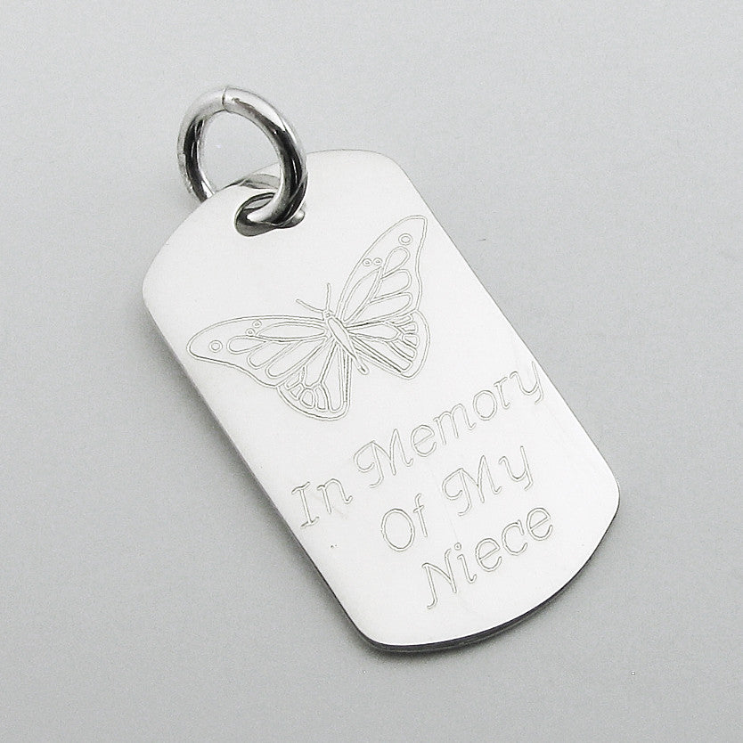 In Memory of my Niece- Butterfly sterling silver dog tag memorial pendant