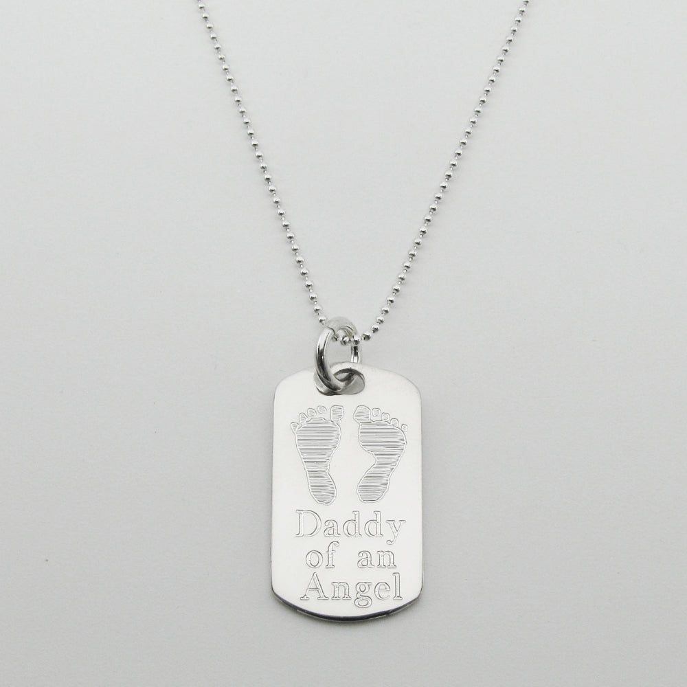 Daddy of an Angel- Baby Footprints Sterling Silver Dog Tag Memorial Pendant
