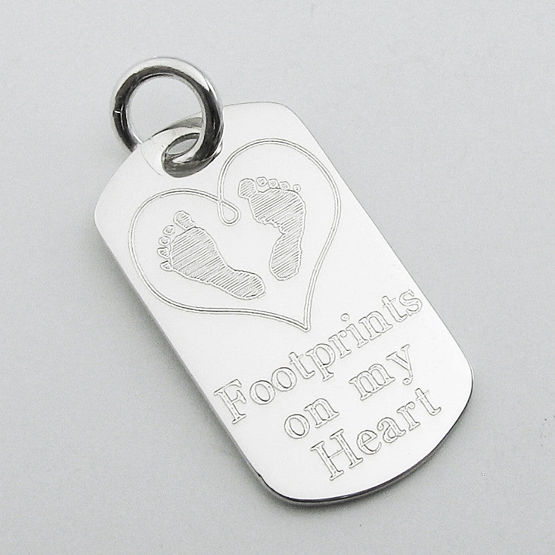 Footprints on my Heart- Baby Feet in Heart Sterling Silver Dog Tag Memorial Pendant