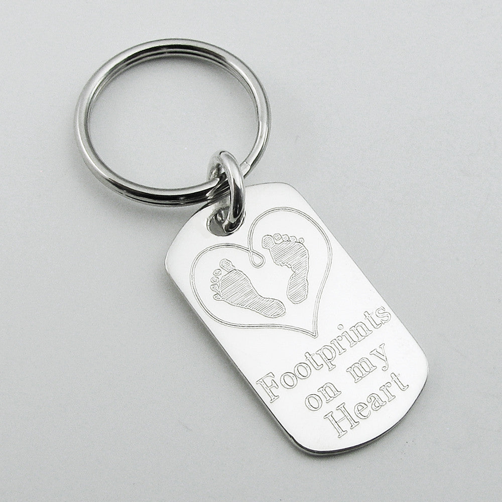 Footprints on my Heart- Baby Feet in Heart Sterling Silver Dog Tag Pendant Memorial Keychain