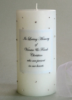Personalized Memorial Candle- Clear Swarovski Crystals