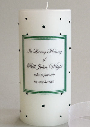 Personalized Memorial Candle- Emerald Green Swarovski Crystals