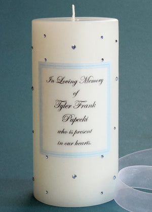 Personalized Memorial Candle- Light Blue Swarovski Crystals