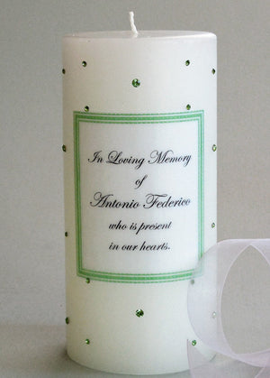 Personalized Memorial Candle- Peridot Green Swarovski Crystals