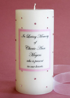 Personalized Memorial Candle- Pink Swarovski Crystals