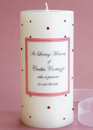 Personalized Memorial Candle- Red Swarovski Crystals