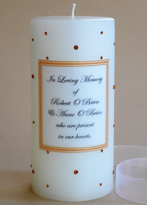 Personalized Memorial Candle- Topaz Swarovski Crystals