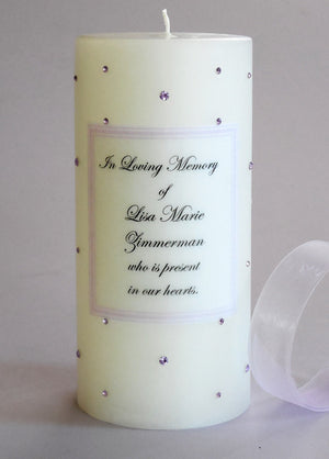 Personalized Memorial Candle- Violet Swarovski Crystals