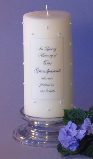 Personalized Memorial Candle- White Pearl Swarovski Crystals