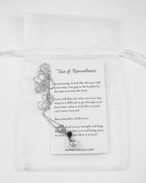 Tear of Remembrance Memorial Necklace with Garnet birthstone gemstone for remembrance of lost loved ones | myforeverchild.com