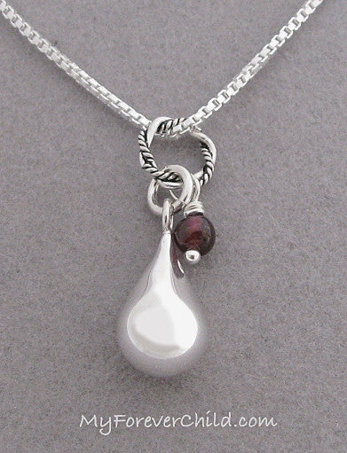 Sterling silver teardrop memorial necklace with birthstone sterling silver teardrop memorial necklace with january garnet birthstone gemstone in remembrance of loved ones mozeypictures Choice Image