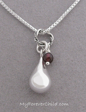 Sterling Silver Teardrop Memorial Necklace with January-Garnet birthstone gemstone in remembrance of loved ones you are missing | myforeverchild.com