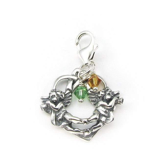Twin Angels in Heart charm with birthstone crystals | sterling silver