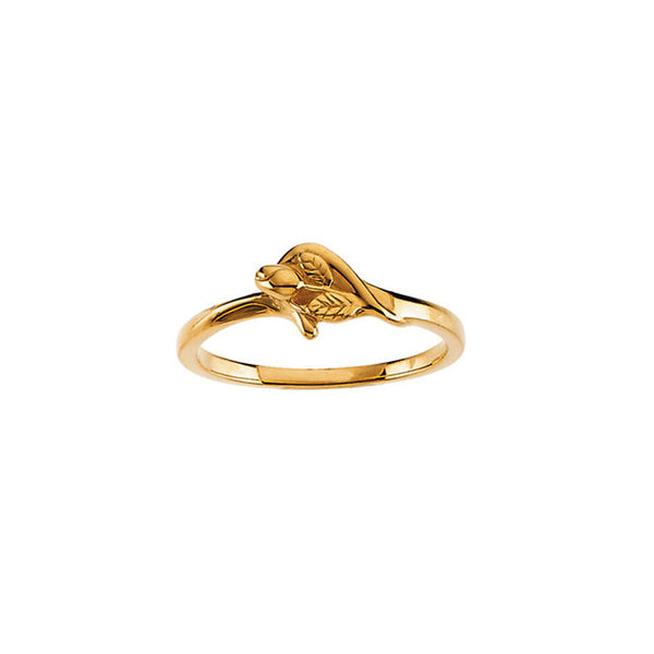 Miscarriage Ring Jewelry, Tiny Rosebud Ring, 14K Yellow