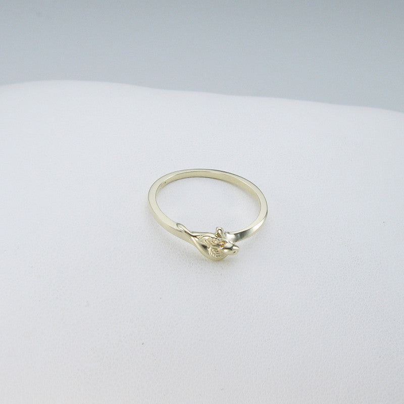 14K Yellow Gold Unblossomed Tiny Rosebud Ring for miscarriage, stillbirth, pregnancy and infant loss