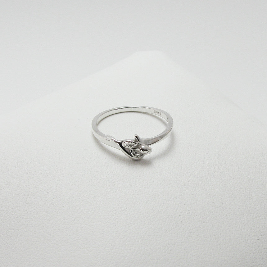14K White Gold Unblossomed Tiny Rosebud Ring for miscarriage, stillbirth, pregnancy and infant loss