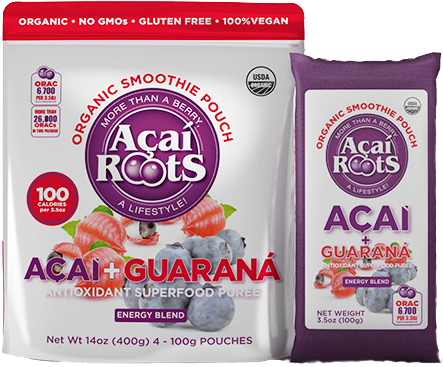 Acai Roots 4 pack case 16 pack Puree Acai & Guarana Organic Frozen 14 oz