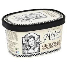 Alden`s Ice Cream , 3 pack case Chocolate/Chocolate Chip, Organic 48 oz