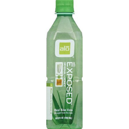 Alo Drink 12 pack case Aloe Vera Exposed Original & Honey 16.9 oz