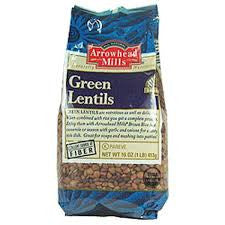 Arrowhead Mills 6 pack case Bean Lentils Green Organic 16 oz
