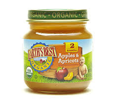 Earth`s Best 12 pack case Baby Foods Apple Apricot Organic 4 oz